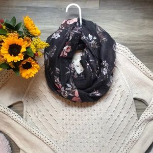 H&M Infinity Scarf Dark Brown Floral One Size